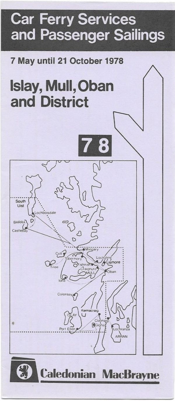 Caledonian MacBrayne - Islay, Mull, Oban & district - timetable summer 1978